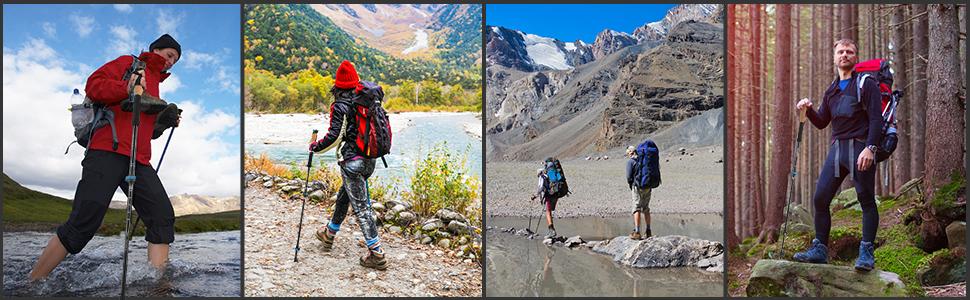Bigzzia Nordic Walking Sticks Adjustable Aluminum Trekking Poles Lightweight Hiking Sticks with Carrying Bag /& Accessories for Women Men