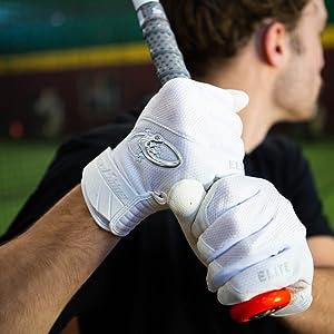 Baseball Batting Gloves White Adult