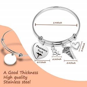RX PHARMACIST  Stainless Steel Personalized Bangle Charm Bracelet Graduation Gift CphT Pharmacy Tech