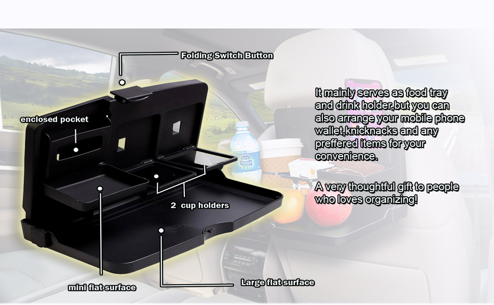 Vehicle Seat Portable Food/Meal/Snack Tray