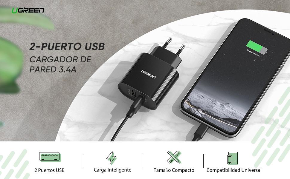 UGREEN Cargador USB Pared con Dos USB Puertos 5V 2.4A y 5V 1A ...
