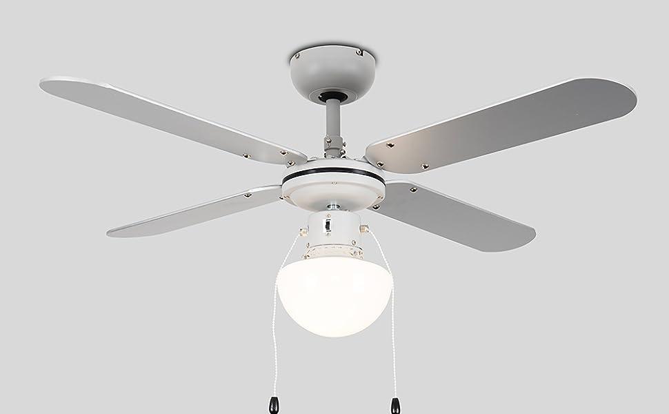 MiniSun - Ventilador de Techo con Luz LED/ Tamaño 106cm - Silencioso Interruptor de Cuerda - 4 Aspas Reversibles en Gris y Negro Pulido - 3 Velocidades - Motor DC: Amazon.es: Iluminación