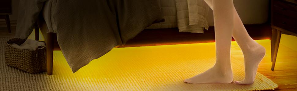 motion sensor led light strip for under bed