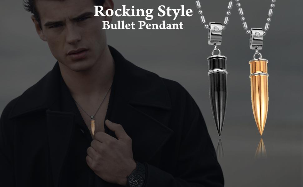 The Black golden Bullet Stainless Steel pendant for men pendant banners
