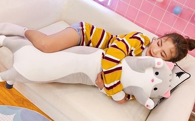 抱き枕 猫 抱きまくら ねこ縫い包み 可愛い もこもこ 添い寝 おもちゃ 柔らかい お誕生日 多機能 横向き寝 洗える 癒し系 子供 デスク/昼寝まくら プレゼント かわいい ふわふわ 特大 グレー ブラウン 90cm