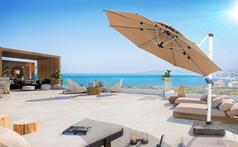 10ft outdoor offset patio umbrella beige
