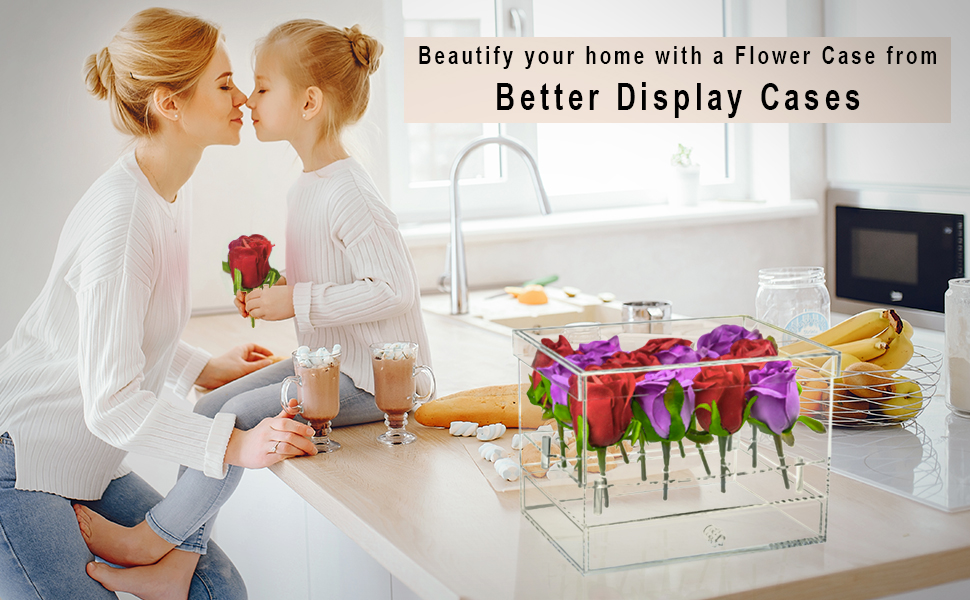 Decorative Acrylic Flower Display Case Arrangement Home Decor Weddings Baby Showers Receptions