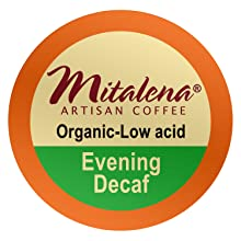 coffee, decaf, organic, low acid, low-acid, mitalena, single serve, pod, brew cup