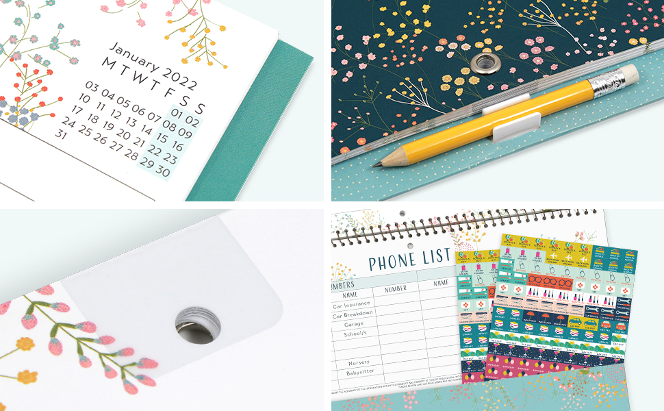 Close-ups of the micro-month calendar, clip-on pencil, reminder stickers & reinforced hanging hole