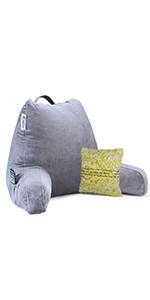 grey reading pillow