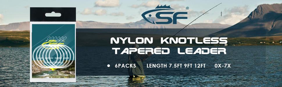 19cm Angelvorfach SF geschwei/ßtes konisches Angelvorfach zum Fliegenfischen mit Schlaufe Nylon 7,5ft 6 St/ücke