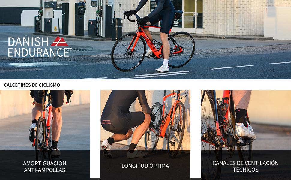 Calcetines de Ciclismo Altos para Hombres y Mujeres, Calcetines Deportivos de Bicicleta, Acolchados, Transpirables, para Montaña, Spinning, Ciclismo de ruta, Negro, Azul, Blanco. Paquete de 3: Amazon.es: Deportes y aire libre