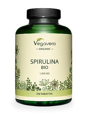 Spirulina Orgánica Vegavero® | La Dosis Más Alta: 1000 mg/Comprimido | Testada en Laboratorio | Sin Aditivos | Detox + Antioxidante + Cansancio | ...