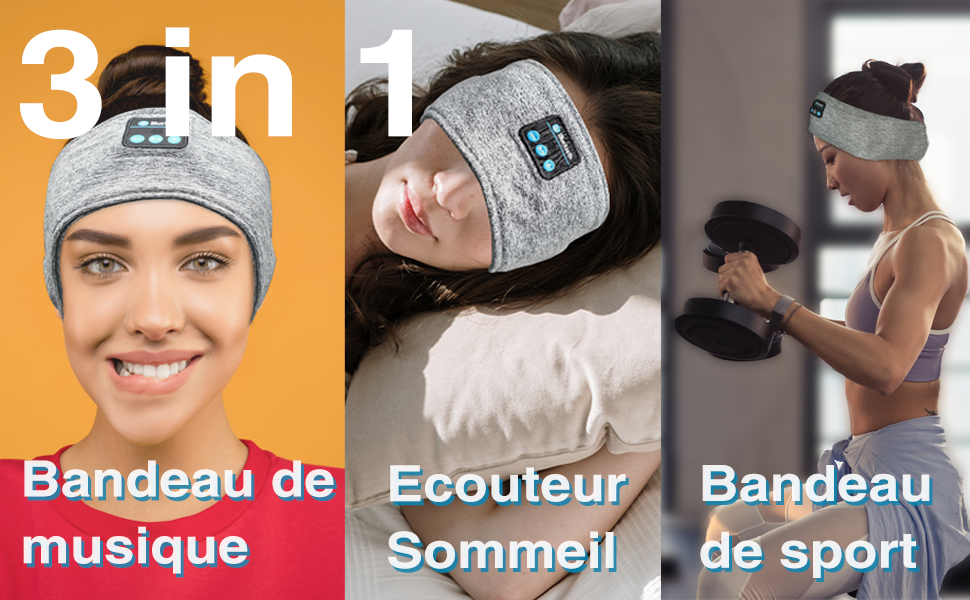 3 in 1, Bandeau de sommeil, musique, sport