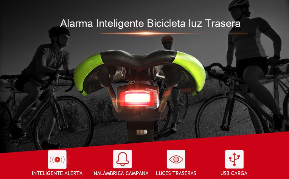 XIAOKOA Luz Trasera de Bicicleta, Luz Trasera de Alarma ...