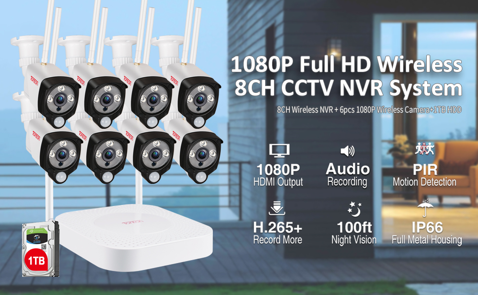 1080p 8CH NVR with 8PCS Cameras and 1TB HDD Kit
