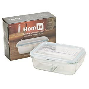 homiu glass storage container cutlery food on the go work lunch dinner gym