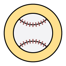 Baseball icon on yellow background