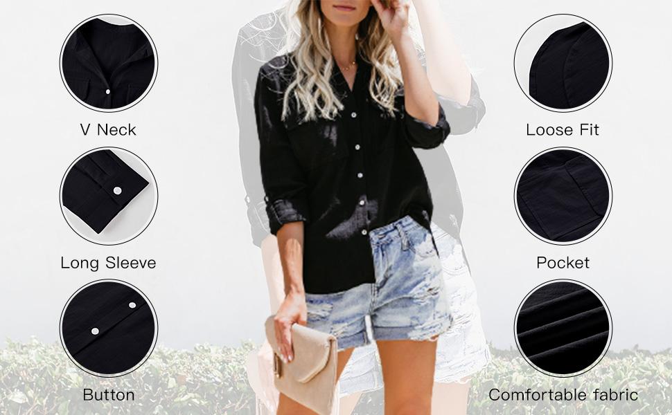 detail: v neck oversized lightweight long sleeve button down, pockets