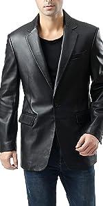 BGSD Men's Nicholas 1-Button Lambskin Leather Blazer