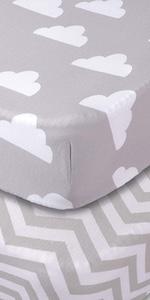 Cloud chevron crib sheets