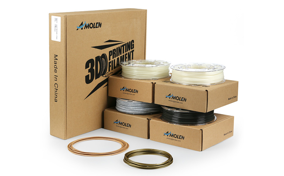 3x200g+1x225g Marble Tri Color Change Lava PLA Filament 1.75mm +//- 0.03 mm AMOLEN 3D Printer Filament Set Includes Sample Wood and Bronze Filament. Glow in the Dark Blue and Green