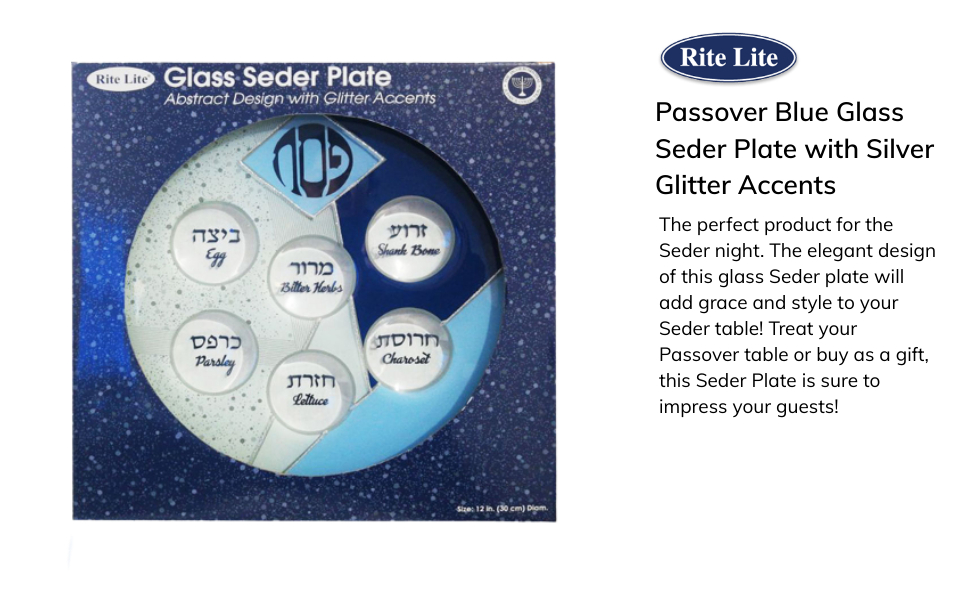 Glass blue seder plate
