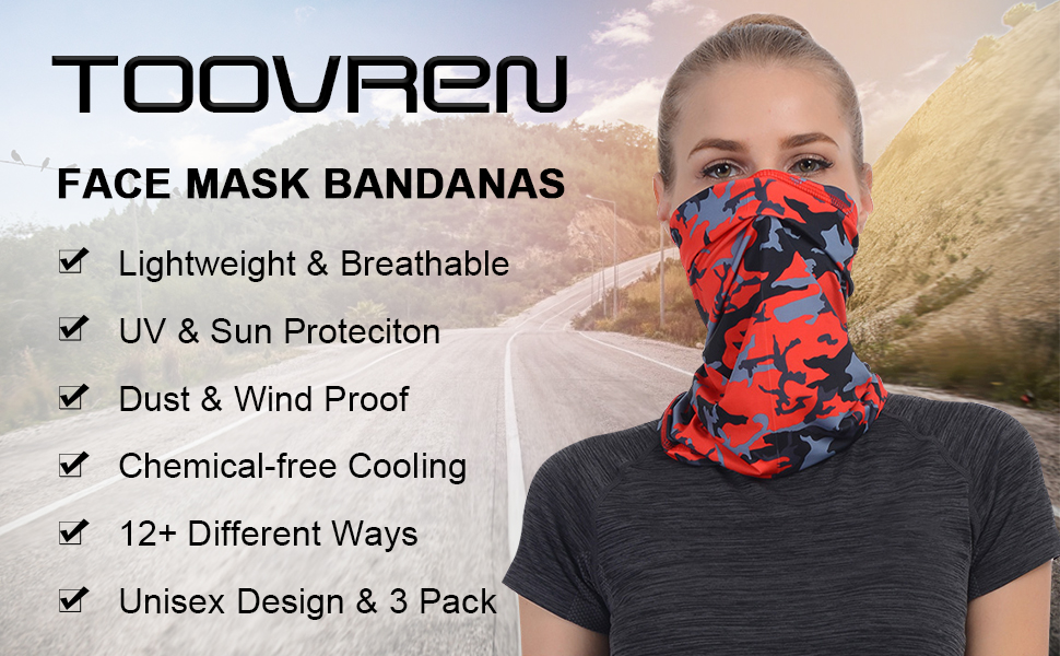 TOOVREN Bandana Fabric Face Cover Neck Breathable Head Silk Scarf Man and Women Reusable Washable Black Gaiter Summer Sun Protection Wrap Cycling Cooling Sweatband Sports Fishing