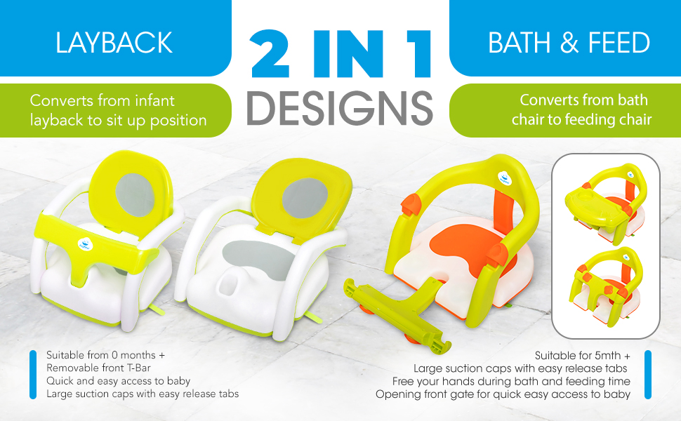 Baby bathtub seat for sit-up bathing, backrest support and suction cups