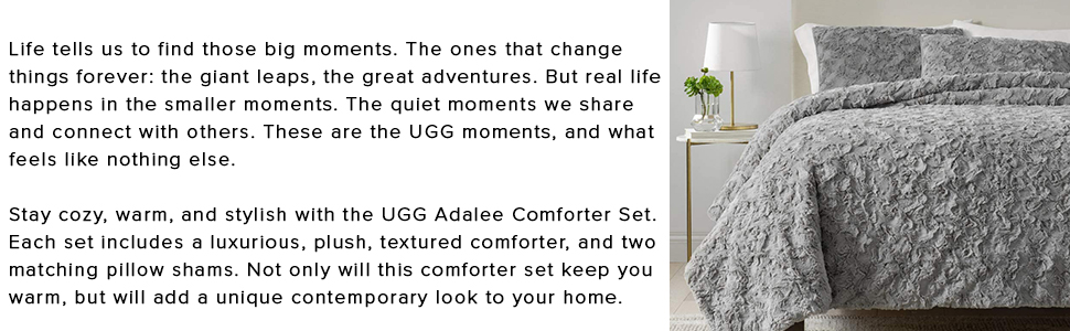 stay cozy, warm, and stylish with the UGG adalee Comforter Set