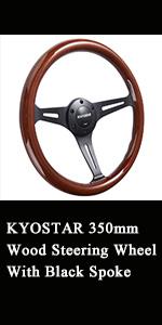 Kyostar 350mm wood steering wheel with black spoke