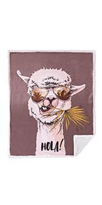 Throw Blanket Animal Print Premium Minky Fleece Sherpa