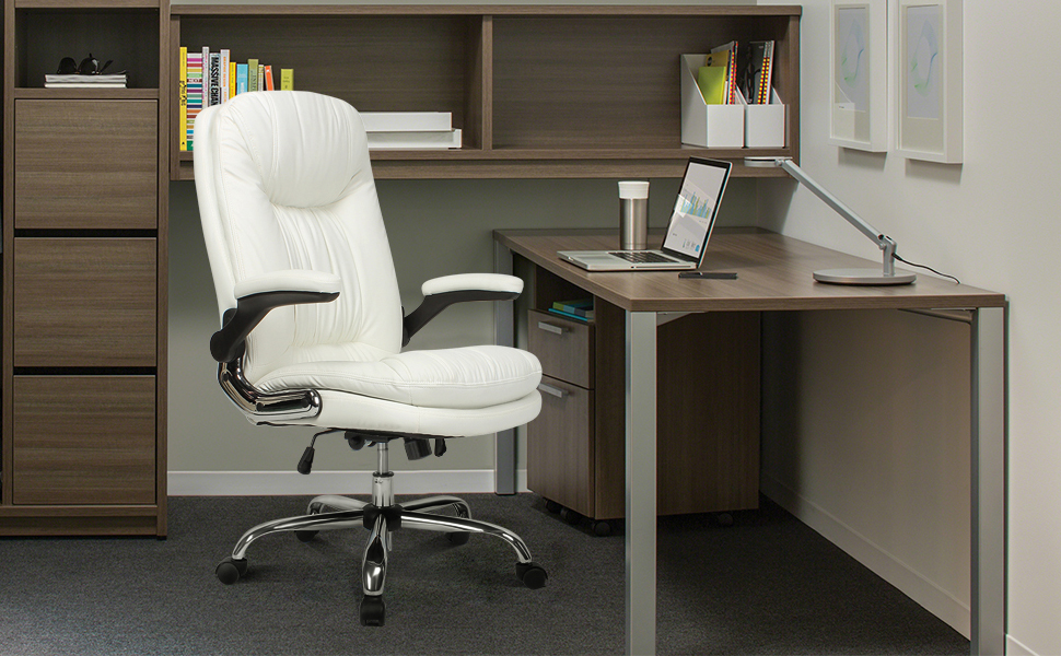 Executive Office desk Chair with wheels and Flip-Up Arms