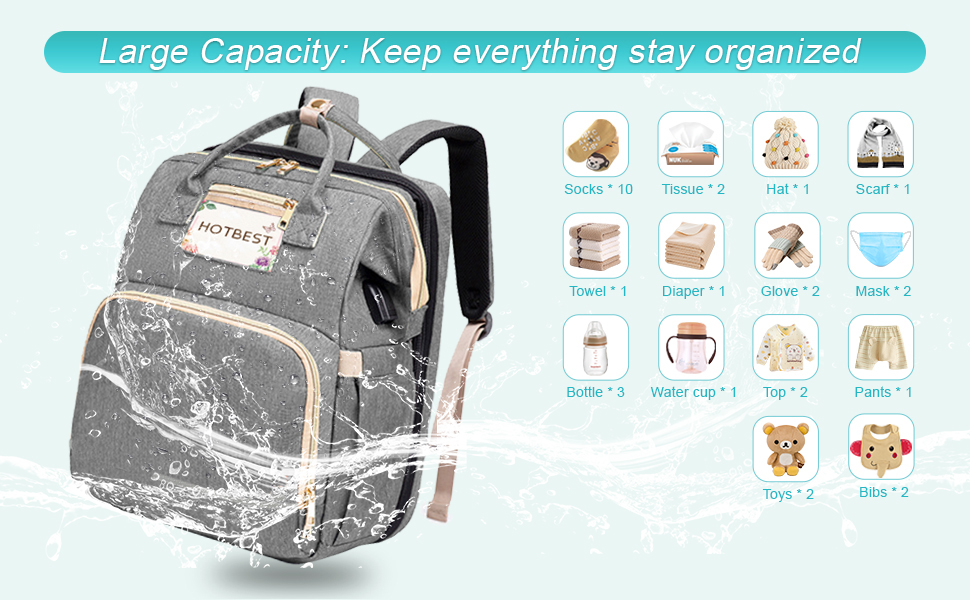 Diaper Bag with Bassinet Waterproof Washable