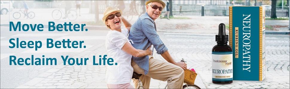 Happy senior couple riding bike. Temporary relief to move & sleep better.