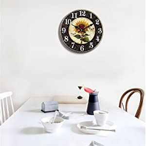 Antique Sunflower Wall Clocks Rustic Farmhouse French Tuscan Country Kitchen Table Decor