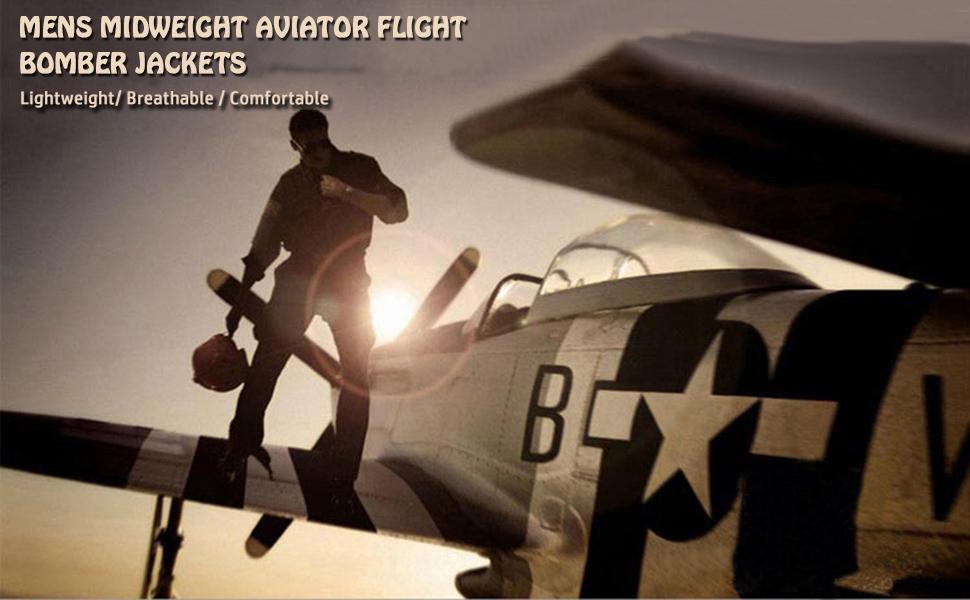 Mens Midweight Aviator Flight Bomber Jackets