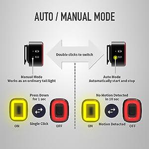 Bicycle Bike Rear Tail Lights Back Intelligent Sensor Brake USB Xlite100 MTB LB