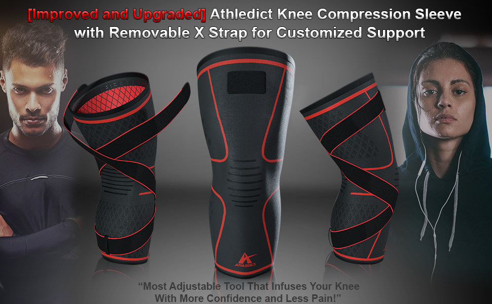 knee brace compression sleeve with x strap athledict support pain relief arthritis meniscus tear mcl
