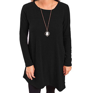Women's Casual Round Neck Long Sleeve Oblique Hem Side Button Tunic Tops