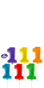 6 Number Lollipops for Birthday Party Favors and Decoration