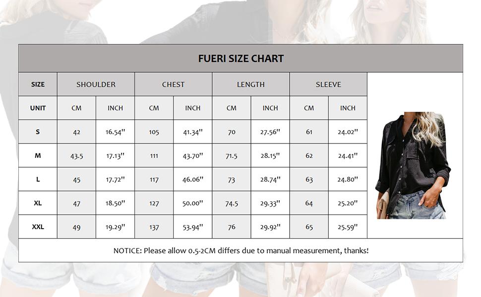 size chart: oversized (US Size standard)