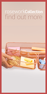 picture of hand touching the rose gold desk drawer organizer with erasers, clips and other office