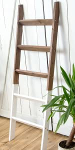 Blanket Ladder Wood Rustic Decorative - White-Dipped Brown