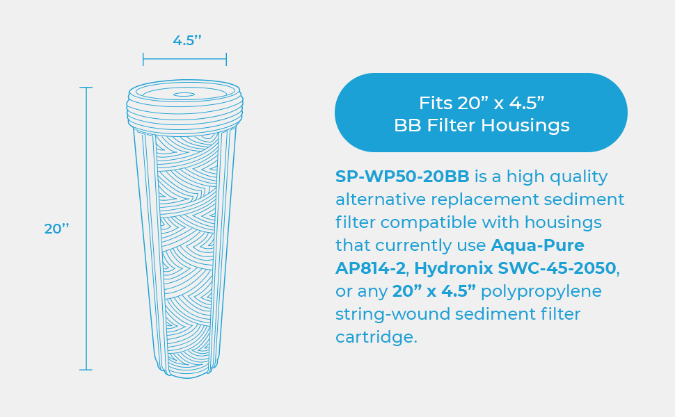 "20"" x 4.5"" Sediment Filter Housing"