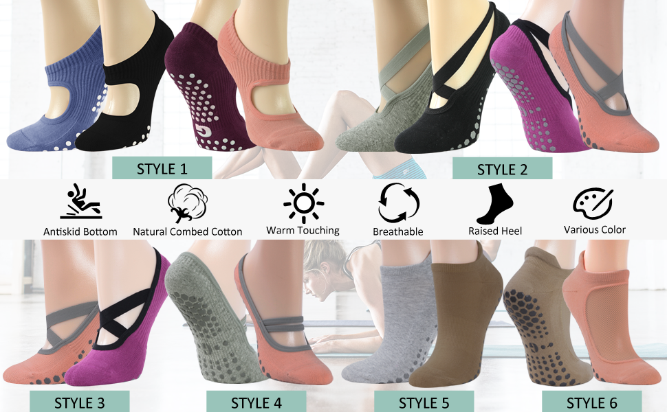 barefoot yoga stretchable lightweight colorful grip socks