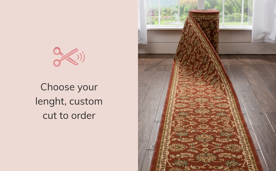 Well Woven custom cut roll runner extra long hall hallway stair stairway rug red oriental non-slip