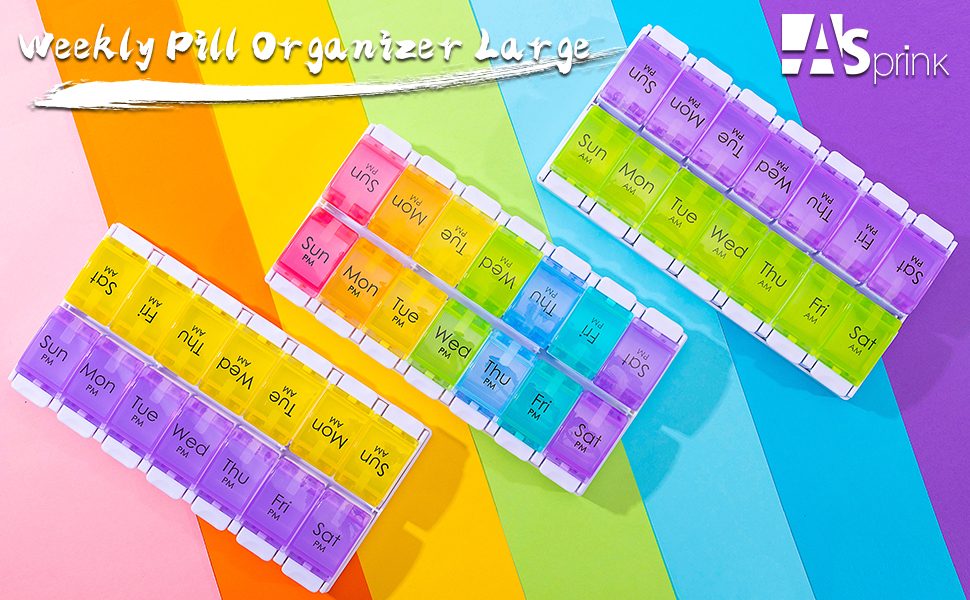 7 Days AM PM Pill Organizer - 2 Times a Day Large Weekly Pills Case Morning and Night Pill holder