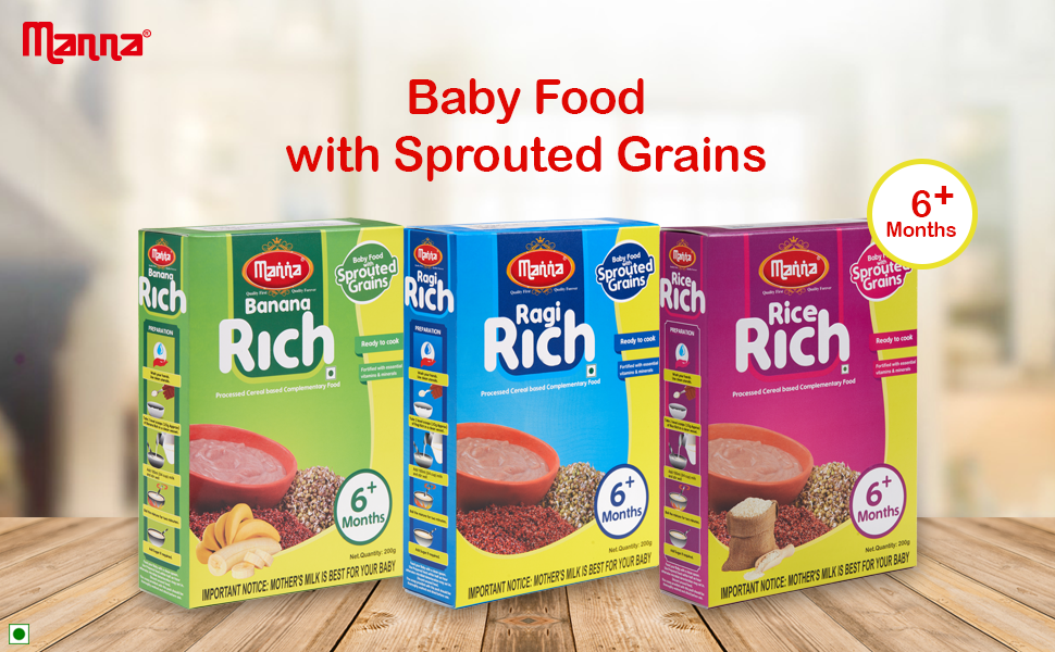 Manna Banana Rich Sprouted Baby Food, 100% Natural Baby Food, Gluten and Allergen Free Baby Food