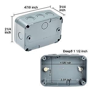 Blanco Caja de conexiones de La Prenda Impermeable a Prueba de Polvo Pl/ástica Ip65 para Cableado Recinto El/éctrico del Proyecto de La Caja de conexiones
